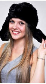 Mink fur hat ushanka - Created with black mink fur remnants