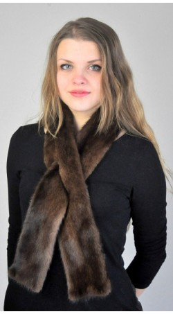 Scandinavian mink fur scarf - dark brown