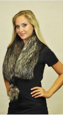 Silver fox  fur scarf  with pom poms