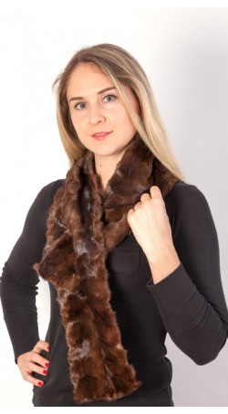 Brown mink fur scarf - Created with mink fur remnants
