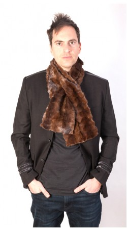 Brown mink fur scarf - Created with brown mink fur remnants