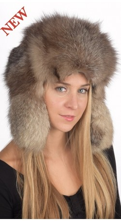 Crystal fox fur hat Russian style