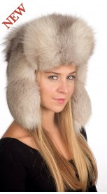 Grey fox fur hat Russian style