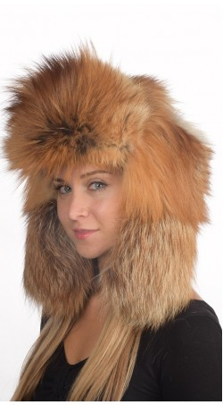 Golden fire fox fur hat Russian style