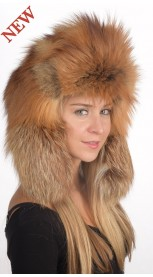 Golden fire fox fur hat Russian style