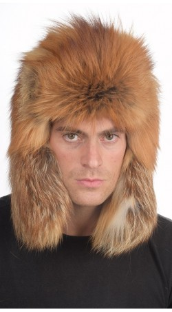 Golden fire fox fur hat Russian style, for men