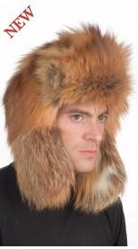 Golden fire fox fur hat Russian style, for men
