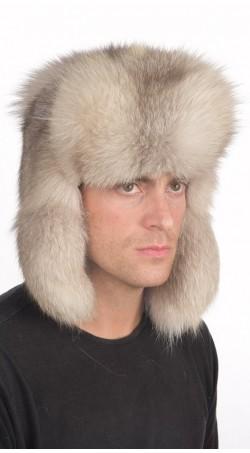 Grey fox fur hat Russian style, for men