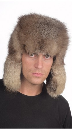Crystal fox fur hat Russian style, for men