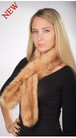 Double sided fur - Sable fur scarf, champagne colour