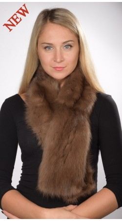 Brown sable fur scarf, for women