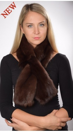Dark Brown sable fur scarf, for women