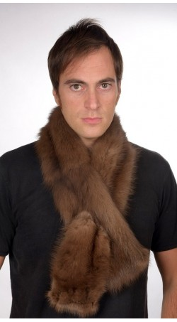 Brown sable fur scarf, for men