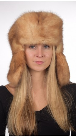 Sable fur hat russian style unisex - Golden color