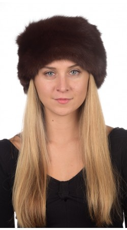 Sable fur hat classic - dark brown