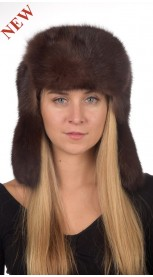 Sable fur hat russian style unisex - Dark brown color