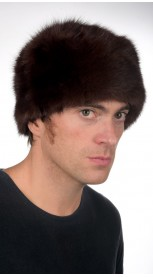 Sable fur hat for men - classic dark brown