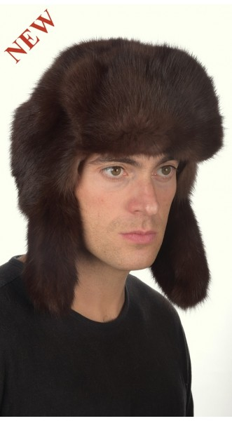 fe0c4ae5eab Sable fur hat russian style for men - dark brown color