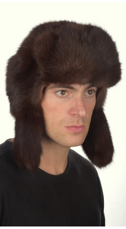 Sable fur hat russian style for men - dark brown color