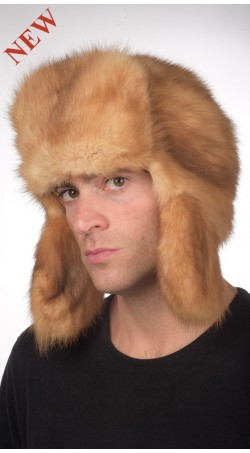 Sable fur hat russian style for men - Golden color