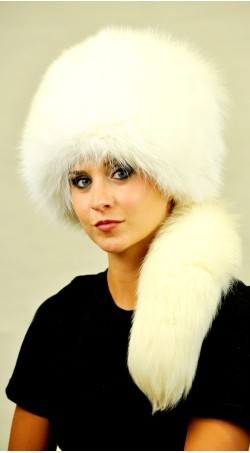 White fox fur hat with tail