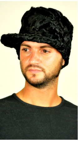 Karakul fur hat - with visor