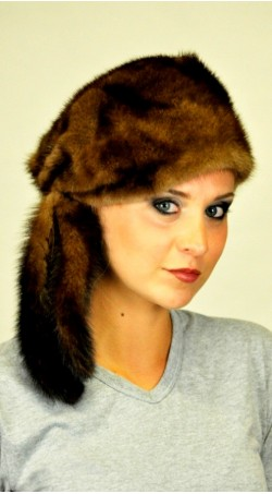 Scandinavian mink fur hat with tails