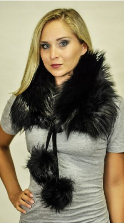 Fox fur scarf black - with pom poms