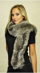 Fox fur scarf - Blue and grey