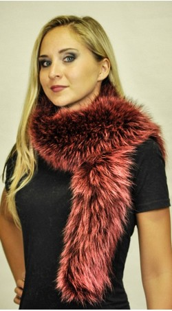Raccoon fur scarf . Red-cherry colour