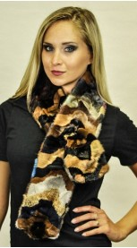 "Mink fur scarf  ""Colorful"" - Created with mink fur remnants"