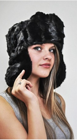 Black mink fur hat - Russian Style - Created with black mink fur remnants