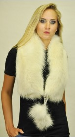 White fox fur scarf - with pom poms