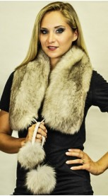 "Fox fur scarf with pom poms -""grey-sapphire"""