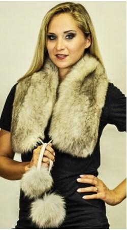 """Fox fur scarf with pom poms -""""grey-sapphire"""""""