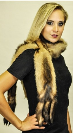 Polecat fur scarf with tails