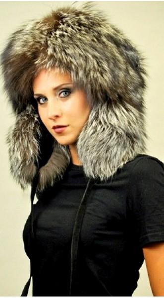 Silver fox fur hat ushanka