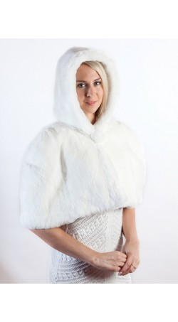 White Rex Fur Shawl with Hood